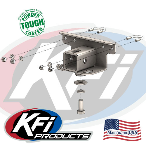 By KFI Products 101280 2007-15 Yamaha Grizzly 700 4x4 Receiver Hitch Adapter Rear